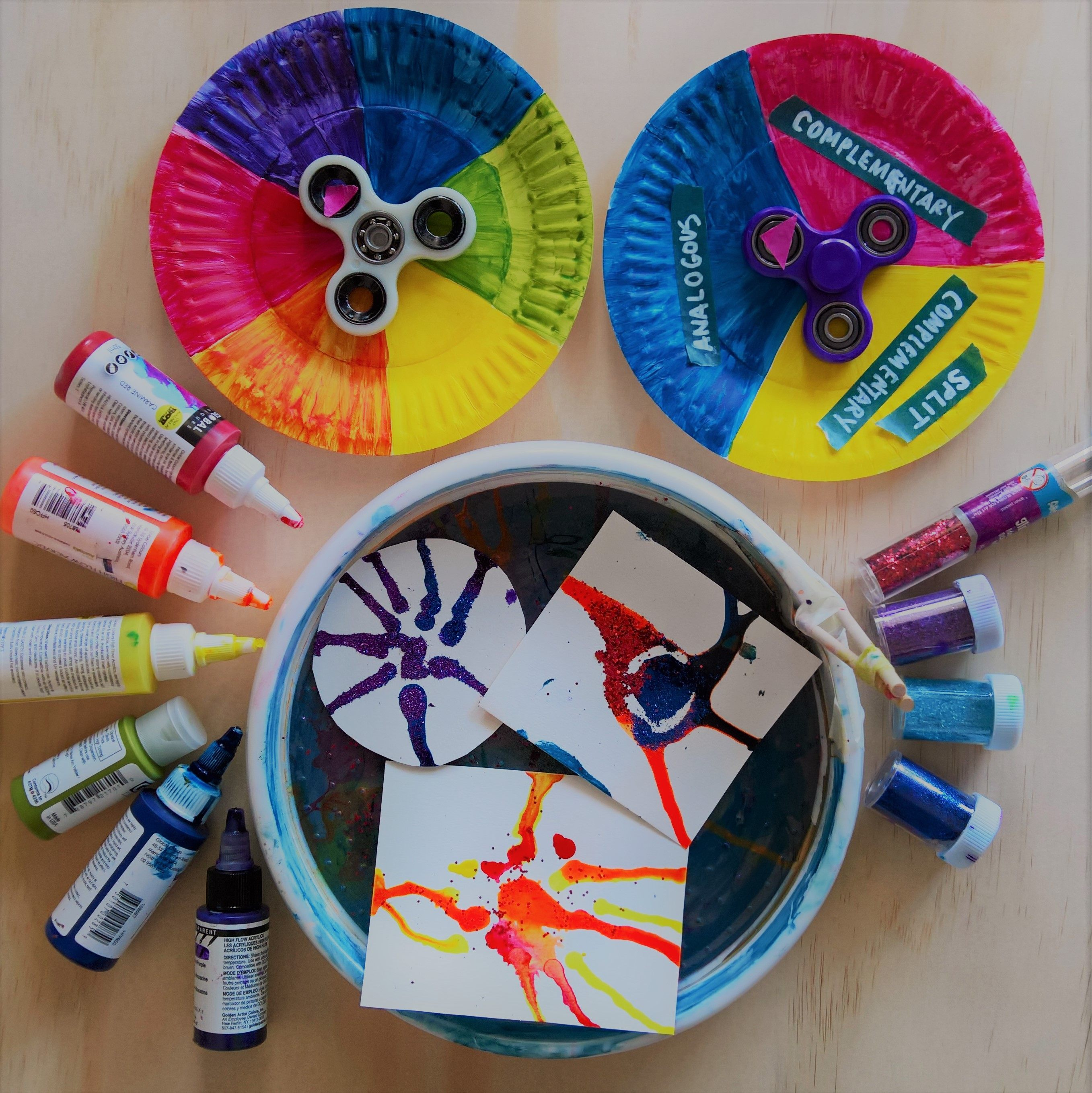 Spin Art Painting Colour Theory Lesson Idea